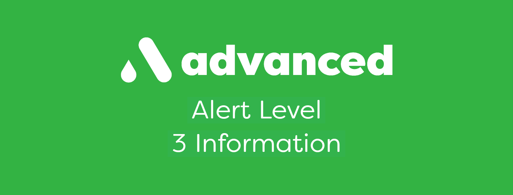 Advanced Plumbing Alert Level 3 information